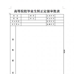 转正定级表下载(用于确定干部身份)
